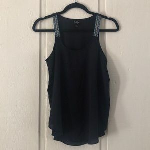 Tops - Navy tank with embroidered straps
